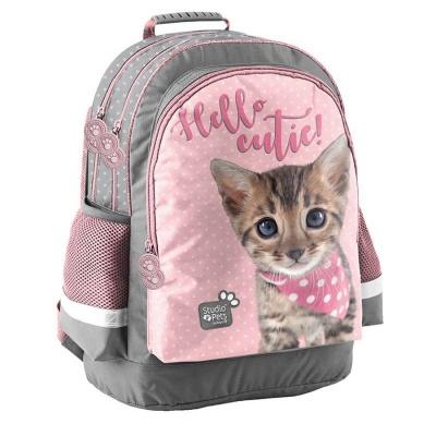 Školní batoh brašna Kočka růžová