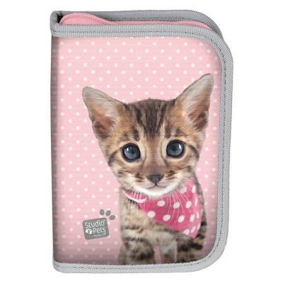 Školní pouzdro penál Kočka růžová - s chlopněmi a vybavením
