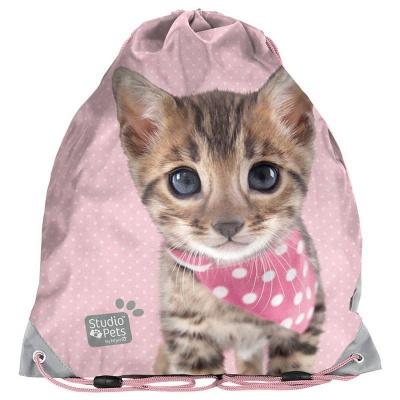 Školní pytel vak sáček Kočka růžová