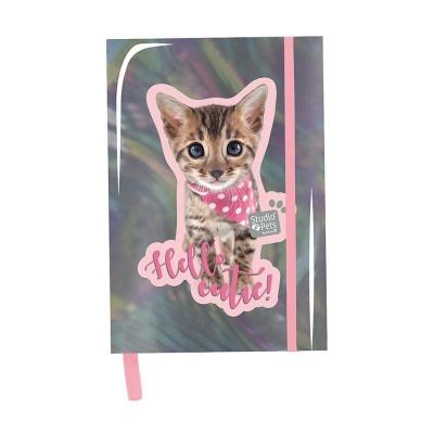 Notes diář A5 Kočka růžová hologram
