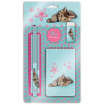 Sada na psaní 5ks ležící kočička - blok, tužka, pravítko, ořezávátko a guma