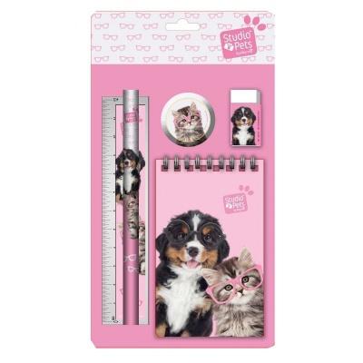 Sada na psaní 5ks Pejsek a kočka - blok, tužka, pravítko, ořezávátko a guma