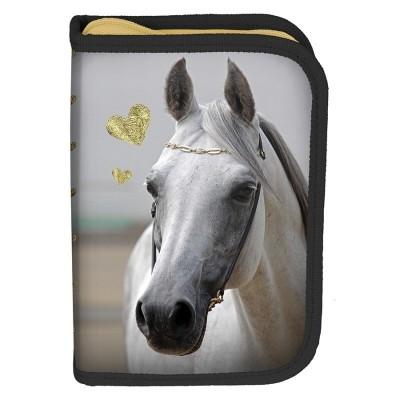 Školní pouzdro penál zlatý Kůň - s chlopněmi