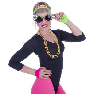 Sada Retro Disco neon brýle, čelenka, rukavice, náušnice a korále