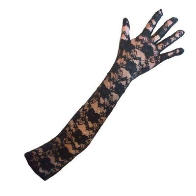 Krajkové dlouhé rukavice černé 45cm