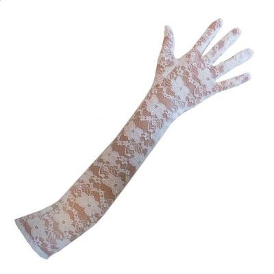 Krajkové dlouhé rukavice bílé 45cm