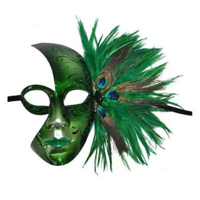 Zelená benátská maska s pavím peřím