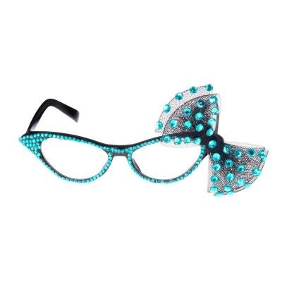 Retro brýle s mašličkou - tyrkysové