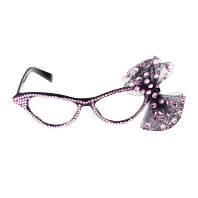 Retro brýle s mašličkou - růžové