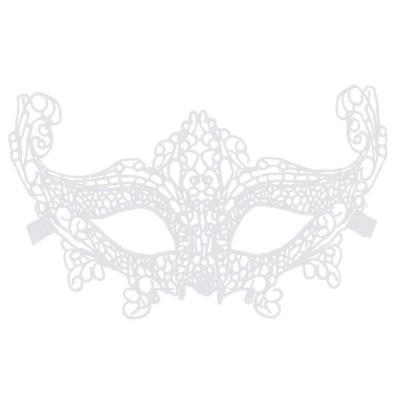 Krajková maska škraboška bílá