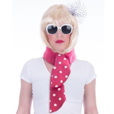 Růžový retro šátek s puntíky