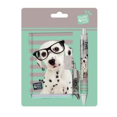 Notes na zámek + propiska Pes s brýlemi