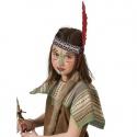 Indiánská čelenka s červeným pérem a kožešinkou