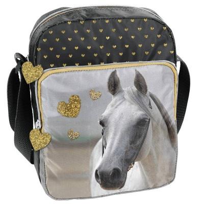 Kabelka taška na rameno zlatá Kůň