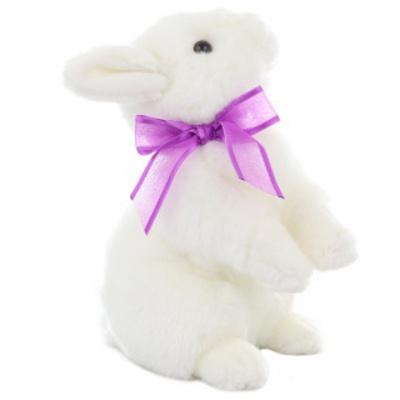 Plyšový Bílý králík s mašlí 25cm