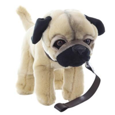 Plyšový pes Mops s vodítkem 29cm