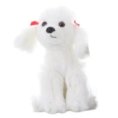Plyšový Pes Pudl bílý s mašličkama 18cm