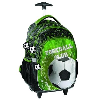 Cestovní batoh na kolečkách s vysouvací rukojetí Fotbal zelený
