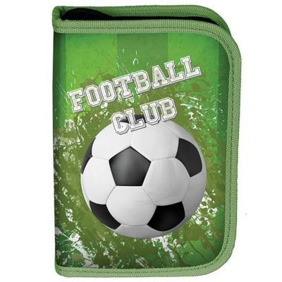 Školní pouzdro penál Fotbal zelený - s chlopněmi a vybavením