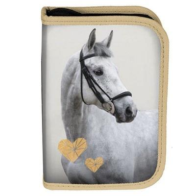 Školní pouzdro penál Kůň Srdce - s chlopněmi a vybavením