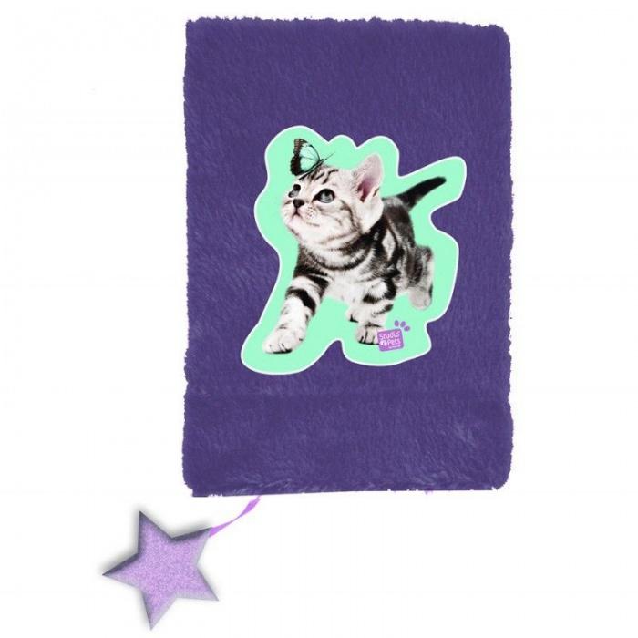 Plyšový notes A5 Kočka s motýlem