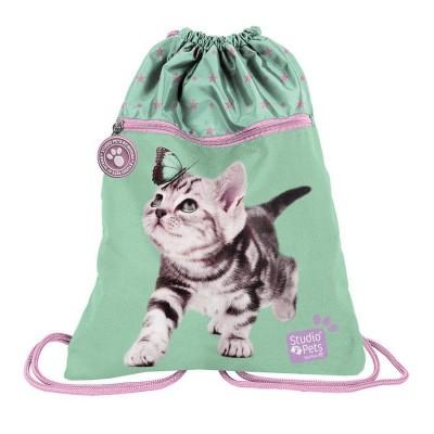 Batoh pytel vak s přední kapsou Kočka s motýlem