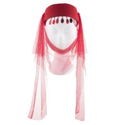 Arabský dámský klobouk se závojem červený