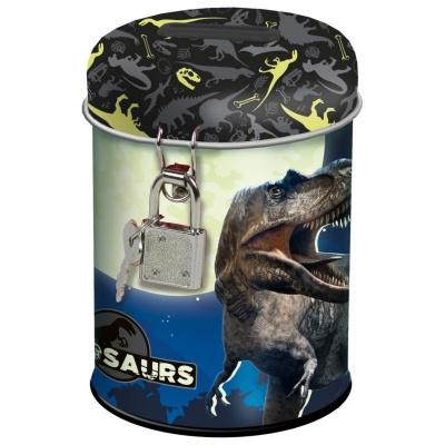 Kovová pokladnička kasička Dinosaurus