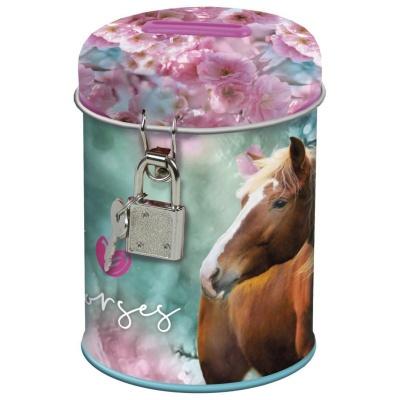 Kovová pokladnička kasička Koně