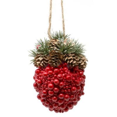 Vánoční dekorace ozdoba z šišek a červených kuliček 14cm