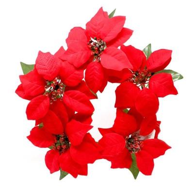 Dekorace věnec vánoční růže hvězdy 25 cm