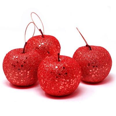 Vánoční ozdoby 4ks jablíčka červené 6,5cm