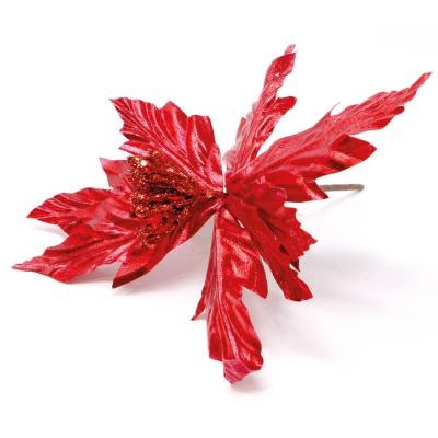 Dekorace Vánoční růže hvězda červená 24 cm