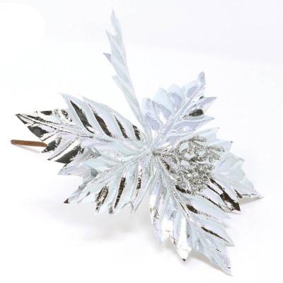 Dekorace Vánoční růže hvězda stříbrná 20 cm