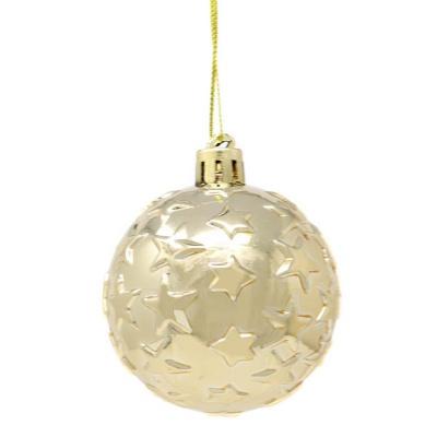 Vánoční ozdoby zlaté koule s hvězdičkami 4 ks 8 cm