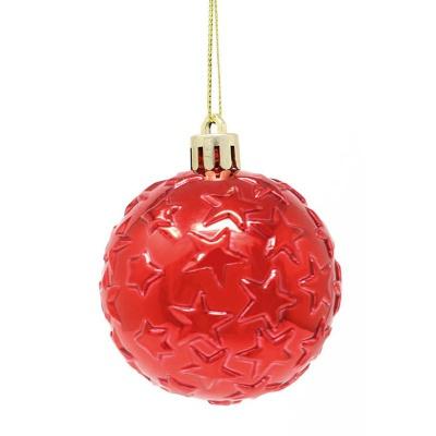Vánoční ozdoby červené koule s hvězdičkami 4 ks 8 cm