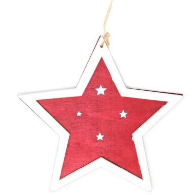 Vánoční ozdoba dřevěná hvězda červená 15 cm