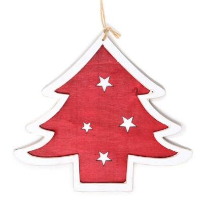 Vánoční ozdoba dřevěný stromeček červený 15 cm