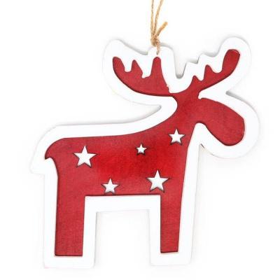 Vánoční ozdoba dřevěný sob červený 15 cm