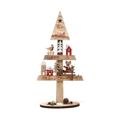 Vánoční dekorace Dřevěný stromeček 31 cm