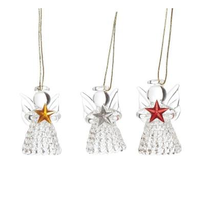 Vánoční ozdoby Sklenění andělé s hvězdami 3 ks 5 cm