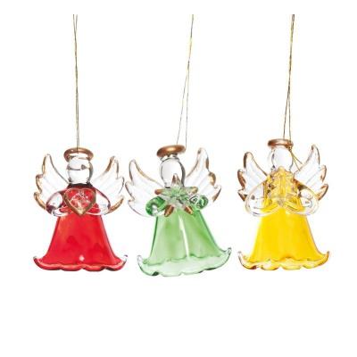 Vánoční ozdoby Barevní sklenění andělé 3 ks 5 cm