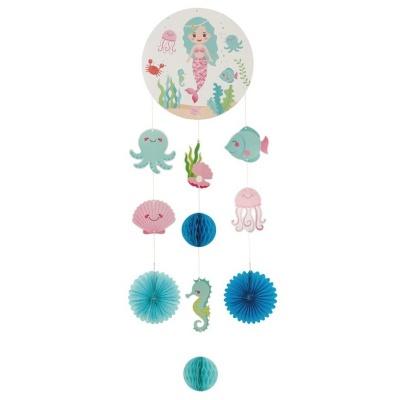 Závěsná dekorace Mořská panna a vodní svět 80 cm