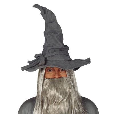 Šedý špičatý klobouk čaroděj