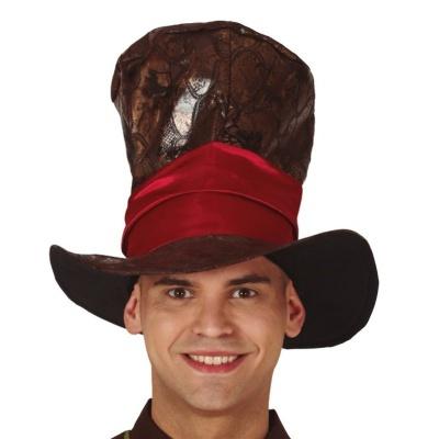 Hnědý klobouk cylindr s oranžovými vlasy
