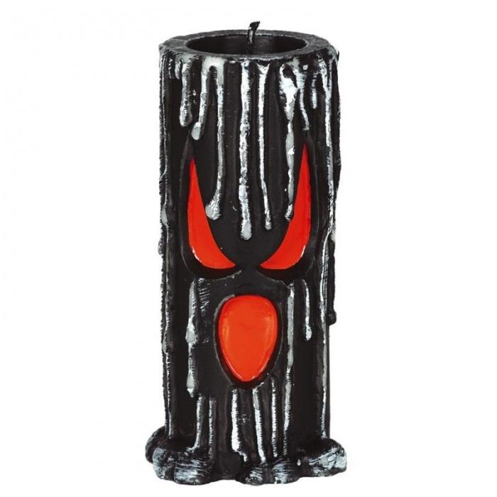 Černá svíčka s obličejem 15 cm