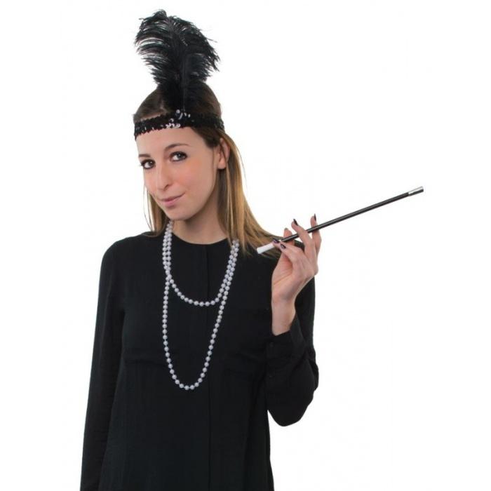 Sada Retro Charleston - čelenka s pérem, špička a šňůra perel