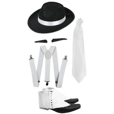 Sada Retro gangster - klobouk, knír, kravata, šle a návleky na boty