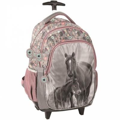 Cestovní batoh na kolečkách s vysouvací rukojetí Kůň a hříbě