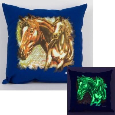 Svítící polštářek modrý Koně